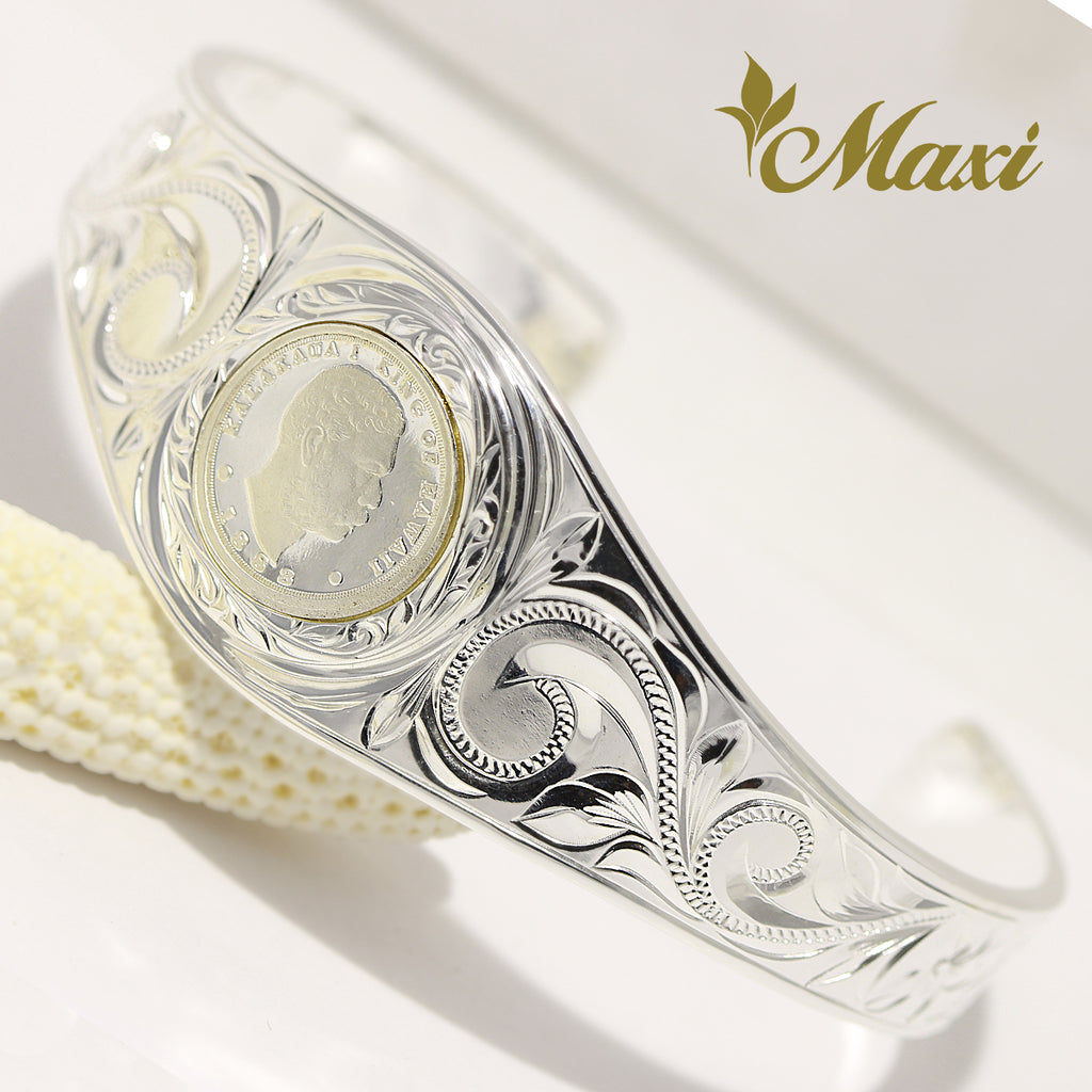 [Silver 925] Kalakaua Replica Coin Bangle (B0607) [Made to Order]