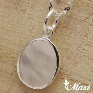 [Silver 925] -Cross Pendant/ Mother of Pearl Cross Pendant/Hand Engraved Traditional Hawaiian Maile Leaf Design (C0054)
