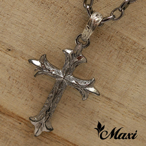 [Black Chrome Silver 925] -Cross Pendant/ Hand Engraved Traditional Hawaiian Design (C0021) *take one month*