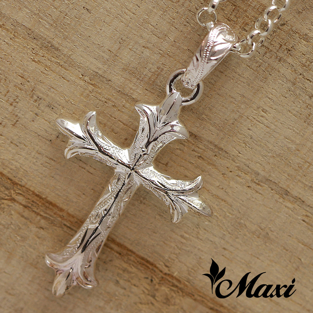 [Silver 925] -Cross Pendant/ Hand Engraved Traditional Hawaiian Design (C0021) *take one month*