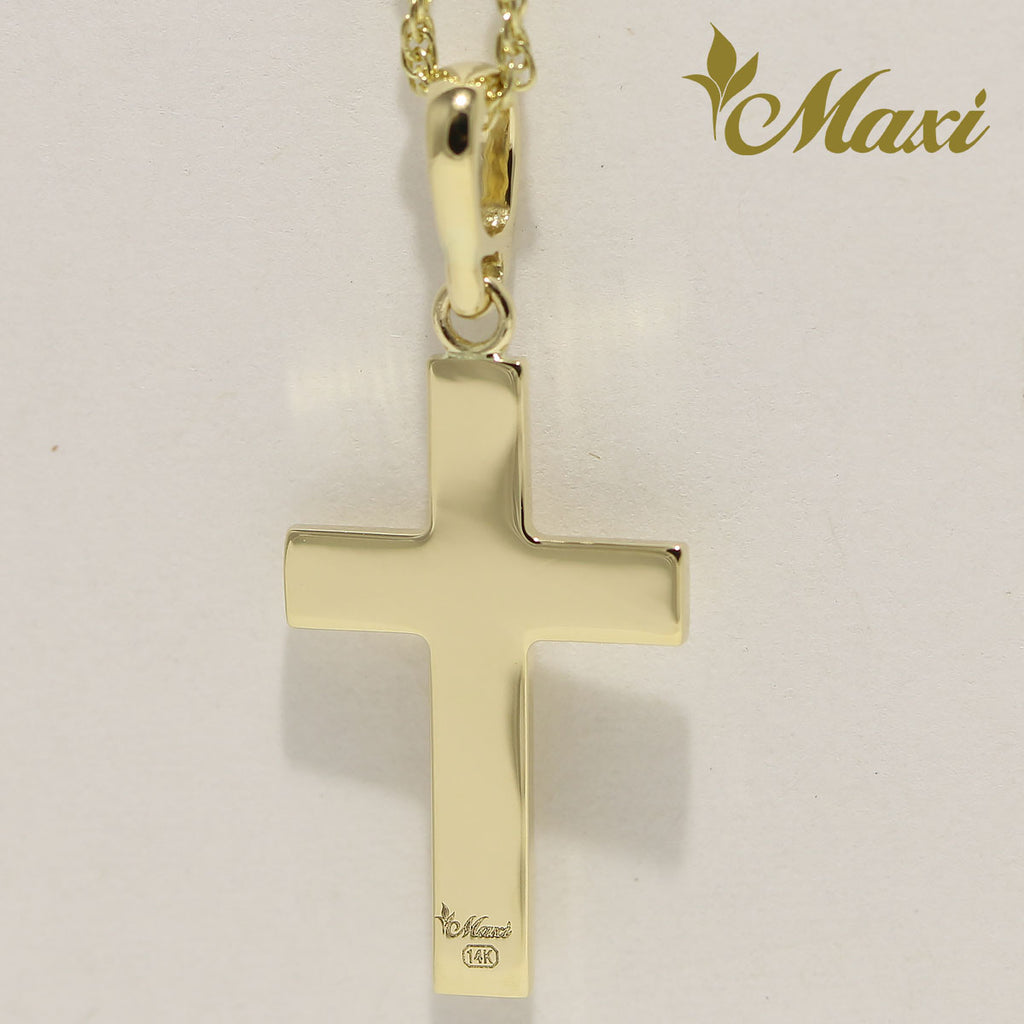[14K Gold] -Cross Pendant/ Hand Engraved Traditional Hawaiian Design (C0037)