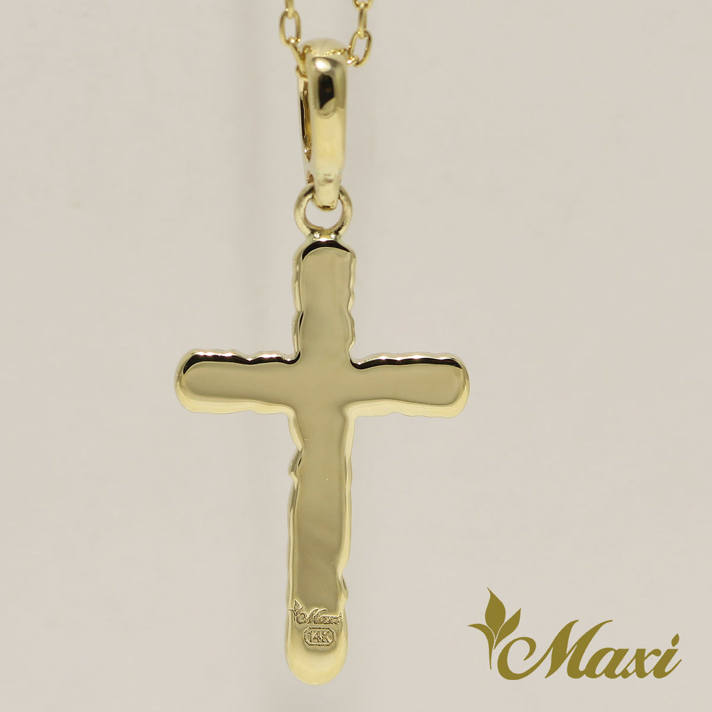 [14K Gold] -Cross Pendant/ Hand Engraved Traditional Hawaiian Design (C0038)