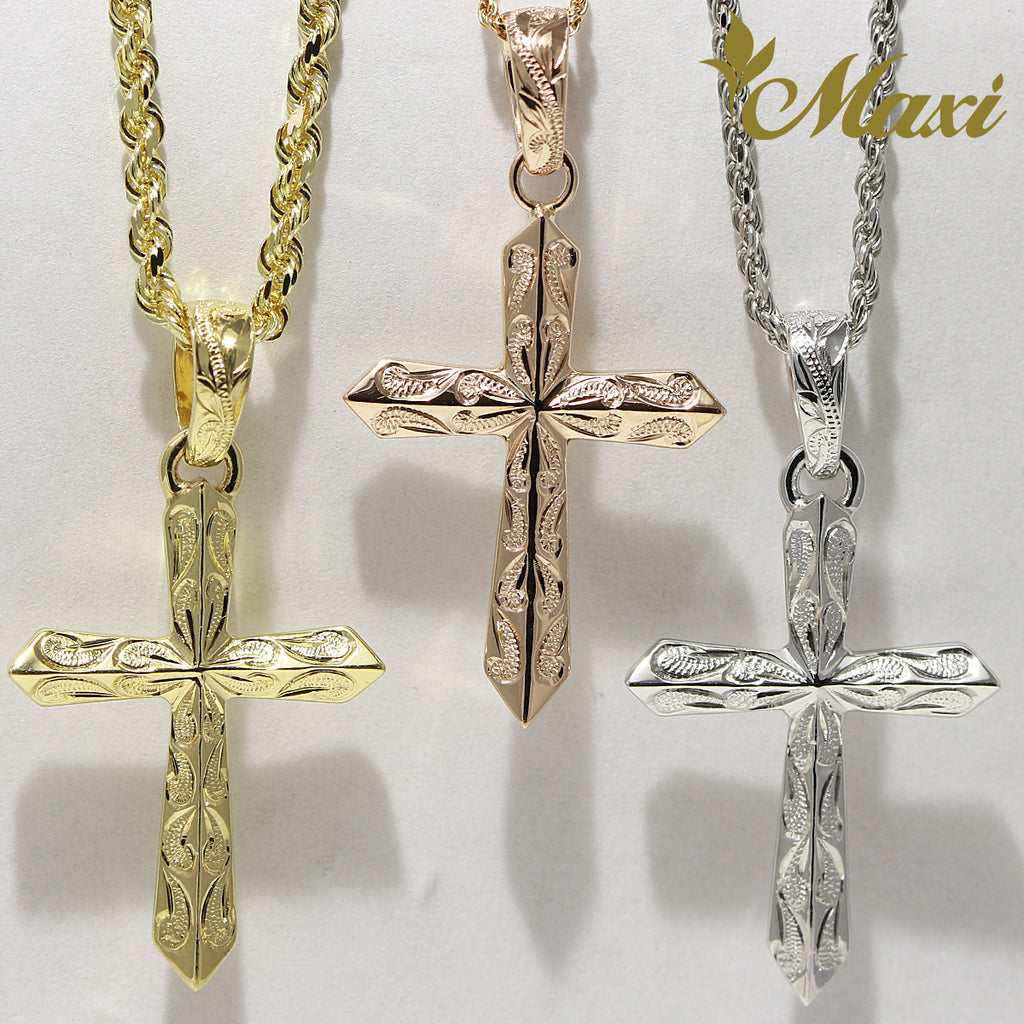 [14K Gold] Cross Pendant with Scroll Engraving (C0040) [Made to Order]