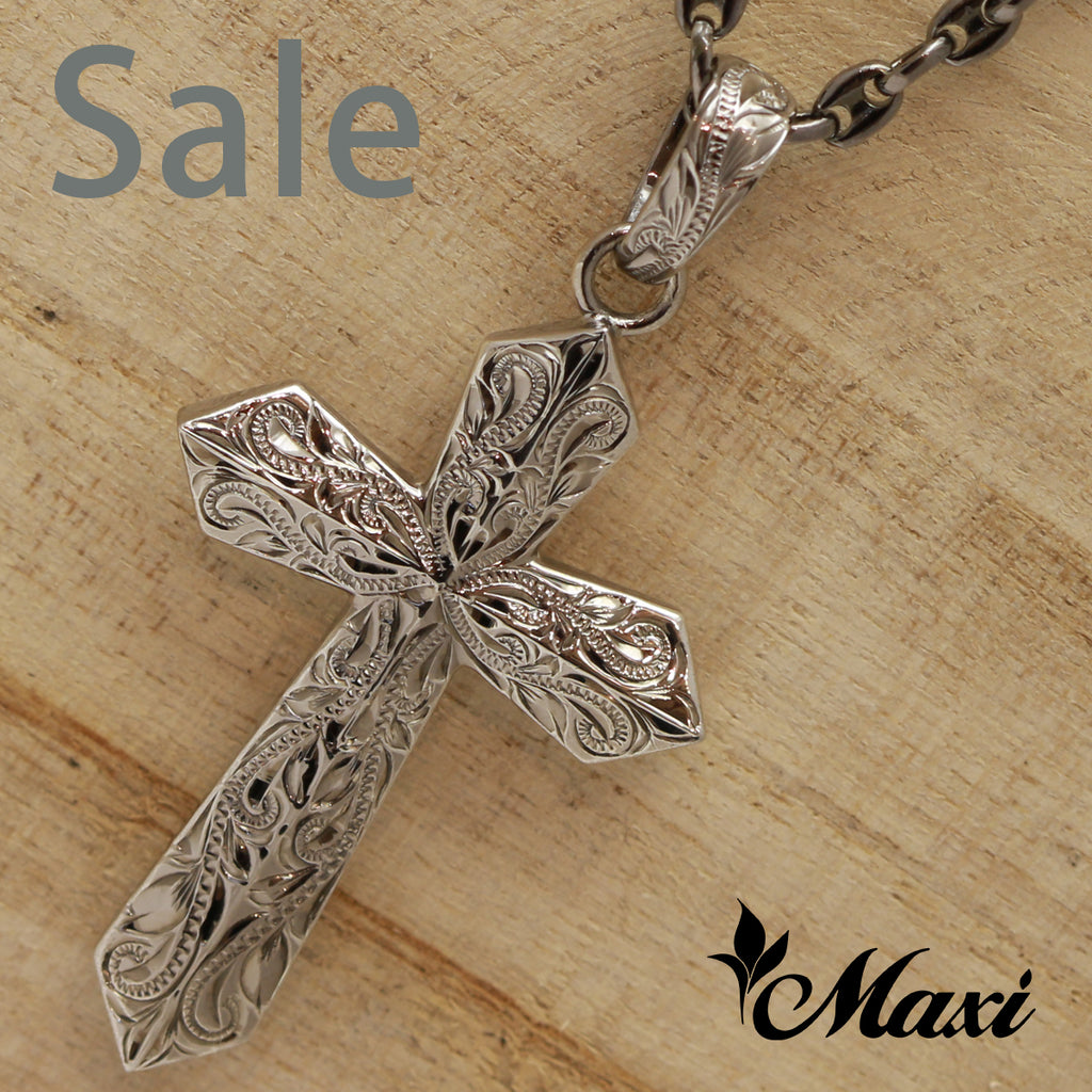 [Black Chrome Silver 925]-Cross Pendant/ Hand Engraved Traditional Hawaiian Design*Made-to-order* (C0042) SALE