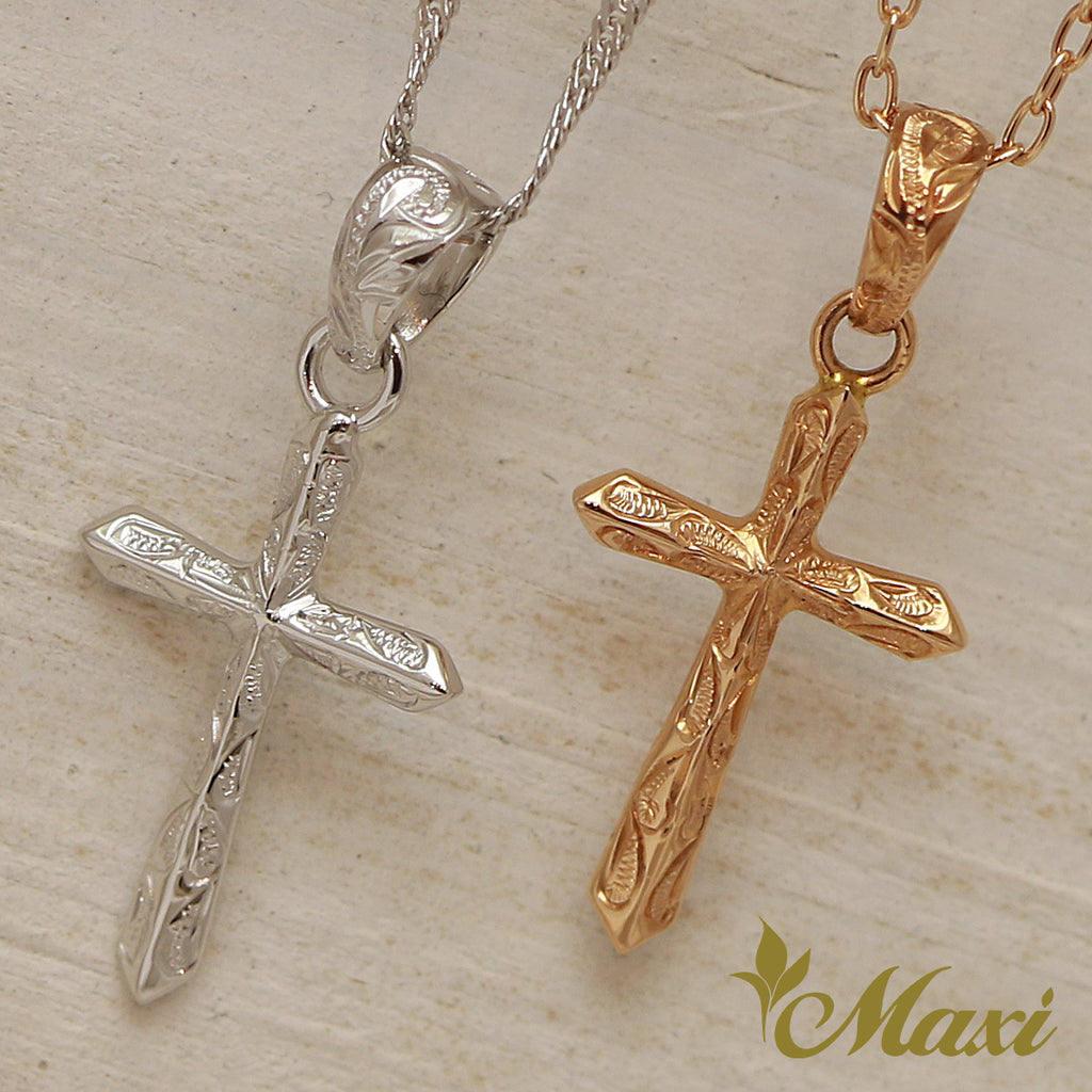[14K Gold] -Cross Pendant/ Hand Engraved Traditional Hawaiian Design (C0160)