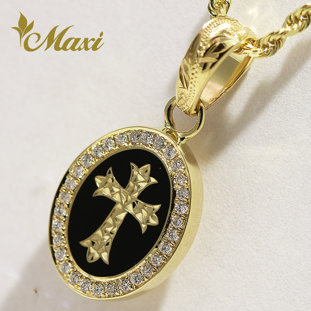 [14K Gold] Cross Oval Pendant with Diamond (C0168) [Made to Order]