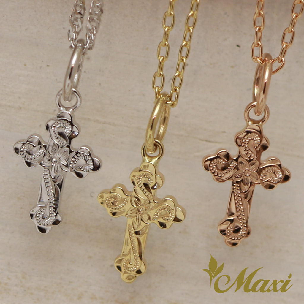 [14K Gold] -Cross Pendant/ Hand Engraved Traditional Hawaiian Design (C0171)