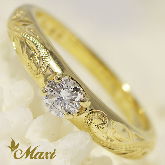 14K Gold Classical Traditional Engagement Ring with Diamond-Hand Engraved Traditional Hawaiian Design (TRD)