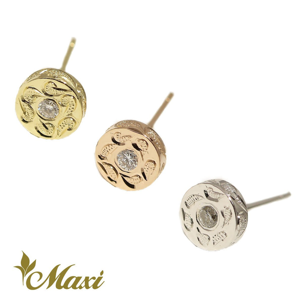 [14K Gold] Round Pierced Earring with Diamond(E0082)