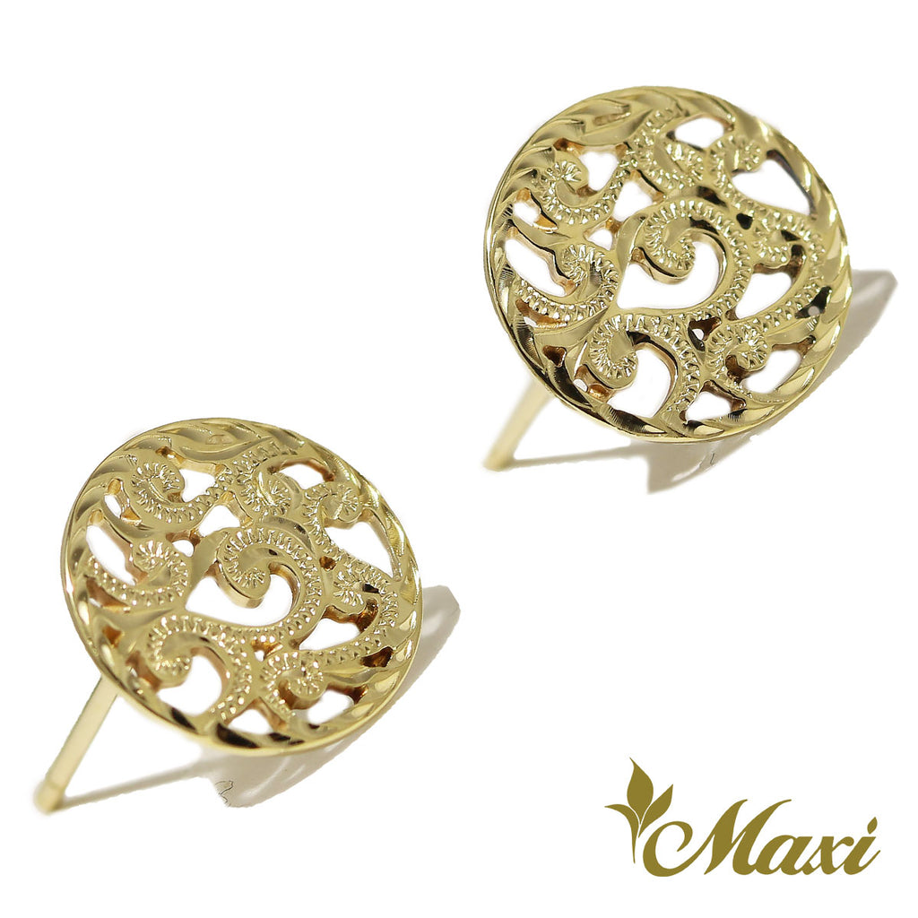 [14K Gold] Round Cut Work Scroll Pierced Earring *Made-to-order*(E0134-stud)