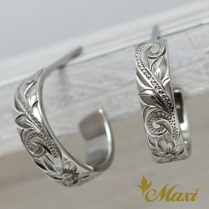 Black Chrome Silver 925 Hoop Pierced Earring Large-Hand Engraved Traditional Hawaiian Design (E0151)
