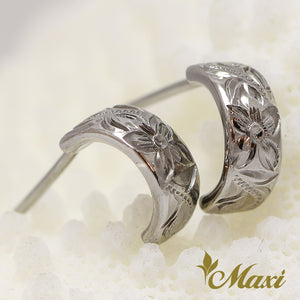Black Chrome Silver 925 Hoop Pierced Earring Small-Hand Engraved Traditional Hawaiian Design (E0152)