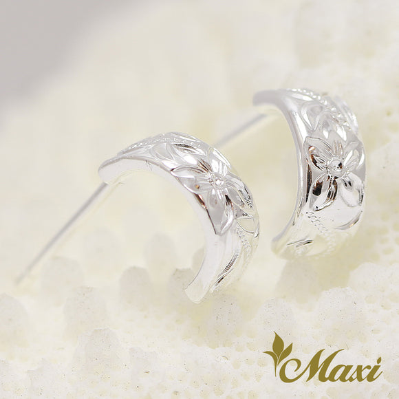 Silver 925 Hoop Pierced Earring Small-Hand Engraved Traditional Hawaiian Design (E0152)