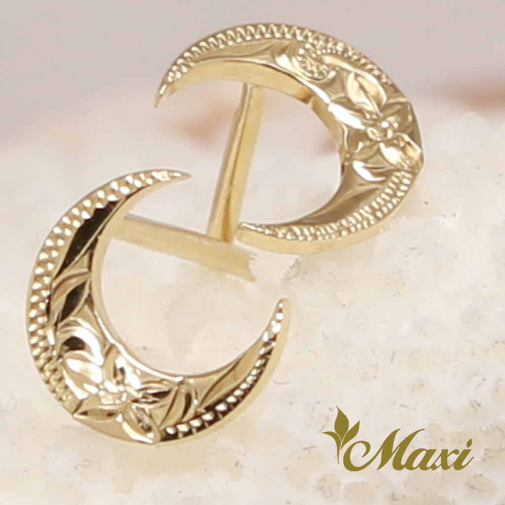 [14K Gold] Crescent Moon Pierced Earring*Made-to-order* (E0175)