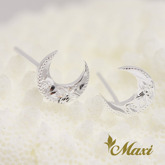 Silver 925 Moon Pierced Earring-Hand Engraved Traditional Hawaiian Design (E0175)