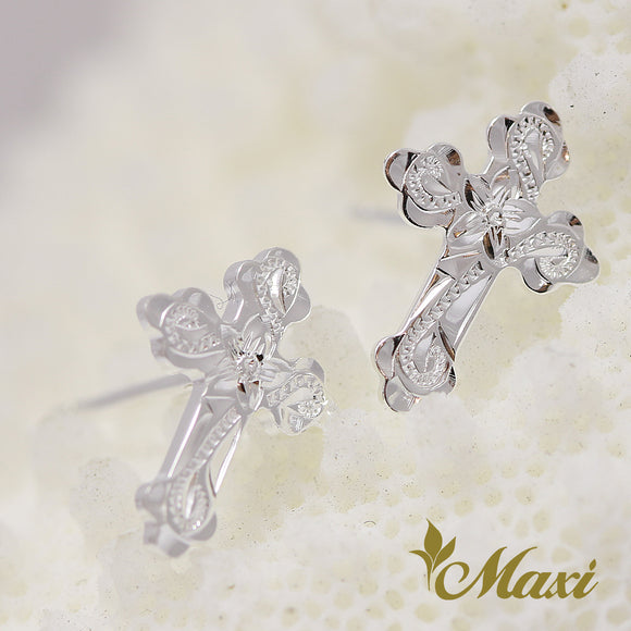 Silver 925 Cross Pierced Earring-Hand Engraved Traditional Hawaiian Design (E0176)