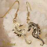 14K Yellow Gold Seahorse Pierced Earring-Hand Engraved Traditional Hawaiian Design (E0178)