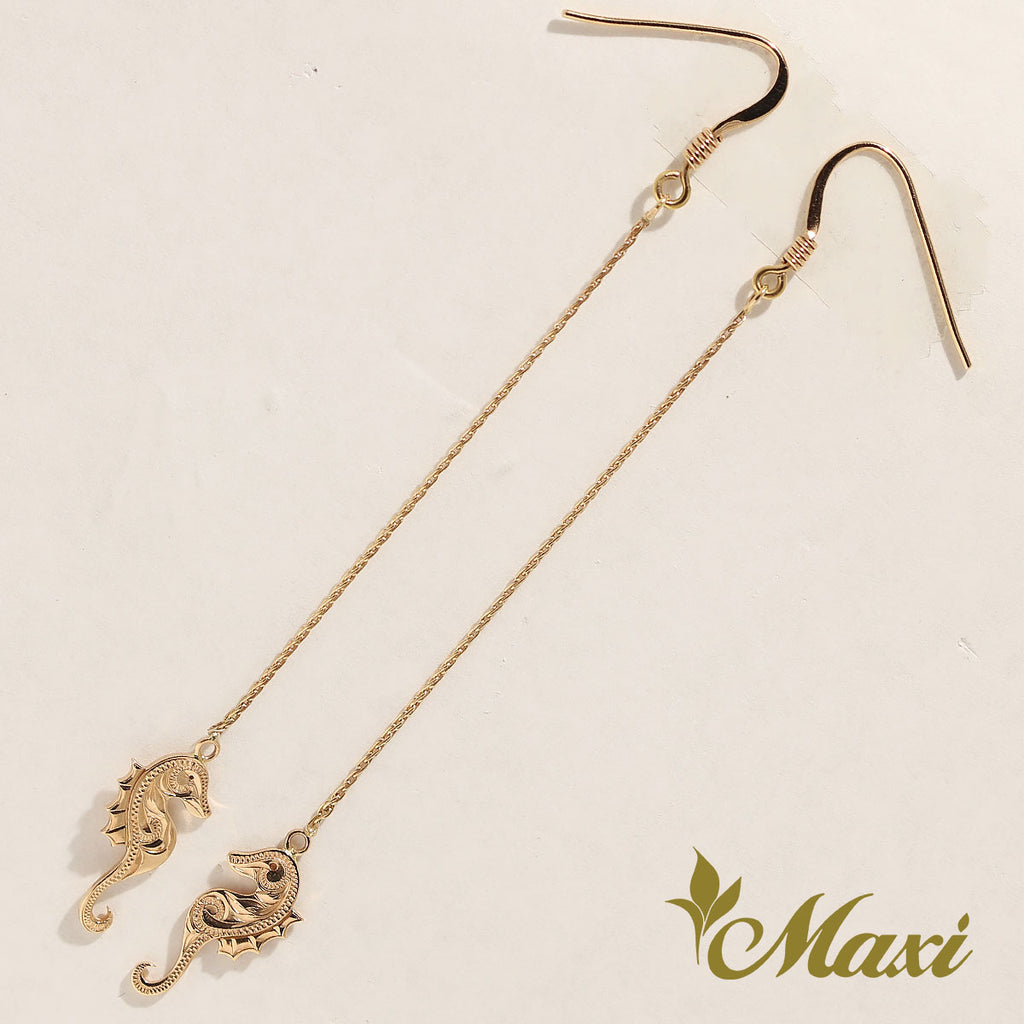 [14K Gold] Seahorse Chain Pierced Earring*Made-to-order*(E0178 CB30+hoop)