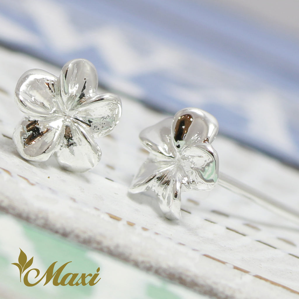 [Silver 925]  - Petite Hawaiian Plumeria Flower Pierced Earring*Made-to-order*(E0206)
