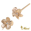[14K Gold] Matte Plumeria Flower Pierced Earring with Diamond*Made-to-order*(E0215)