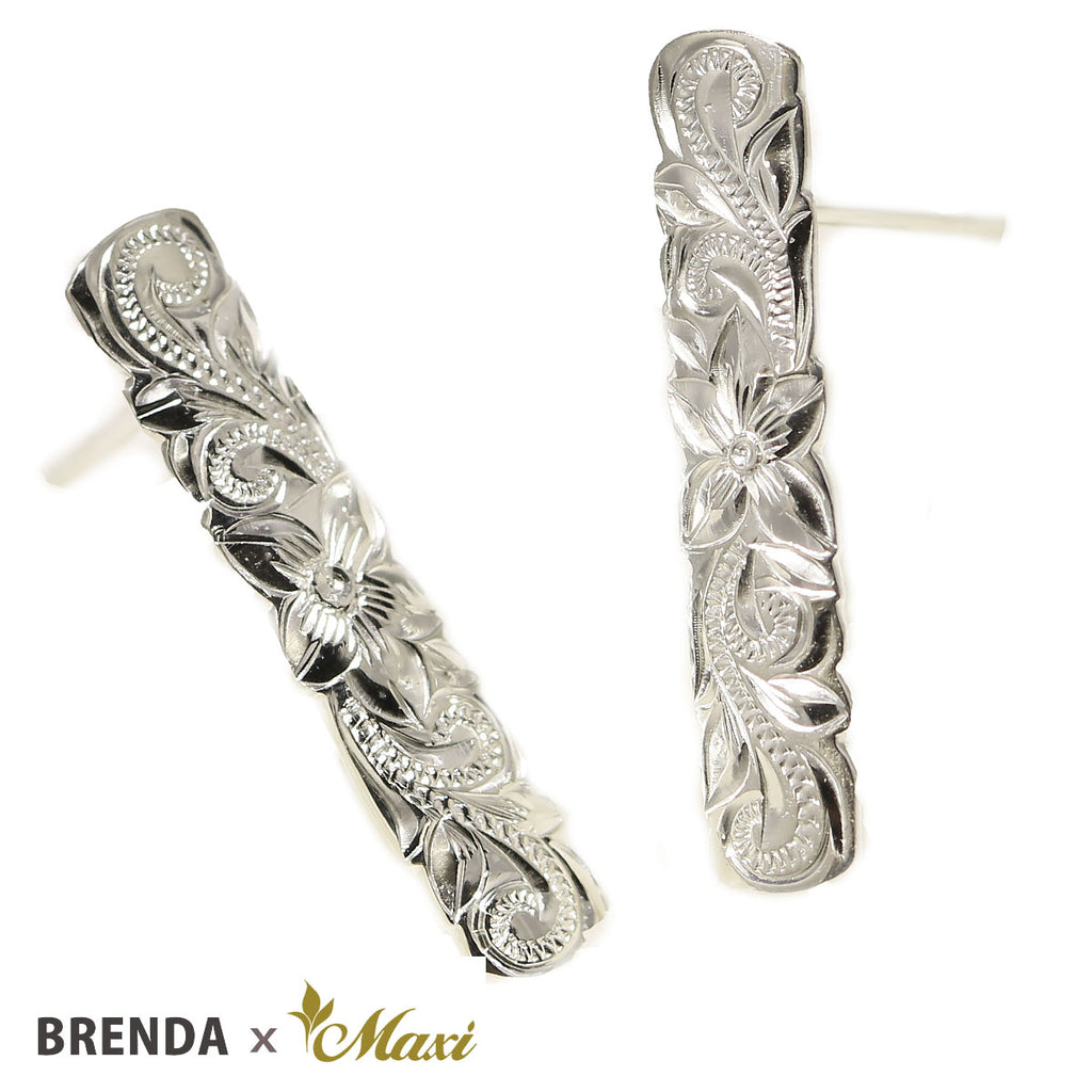 [Silver925] Brenda x Maxi Scallop Edged Bar Pierced Earring *Made-to-order*(E0237)