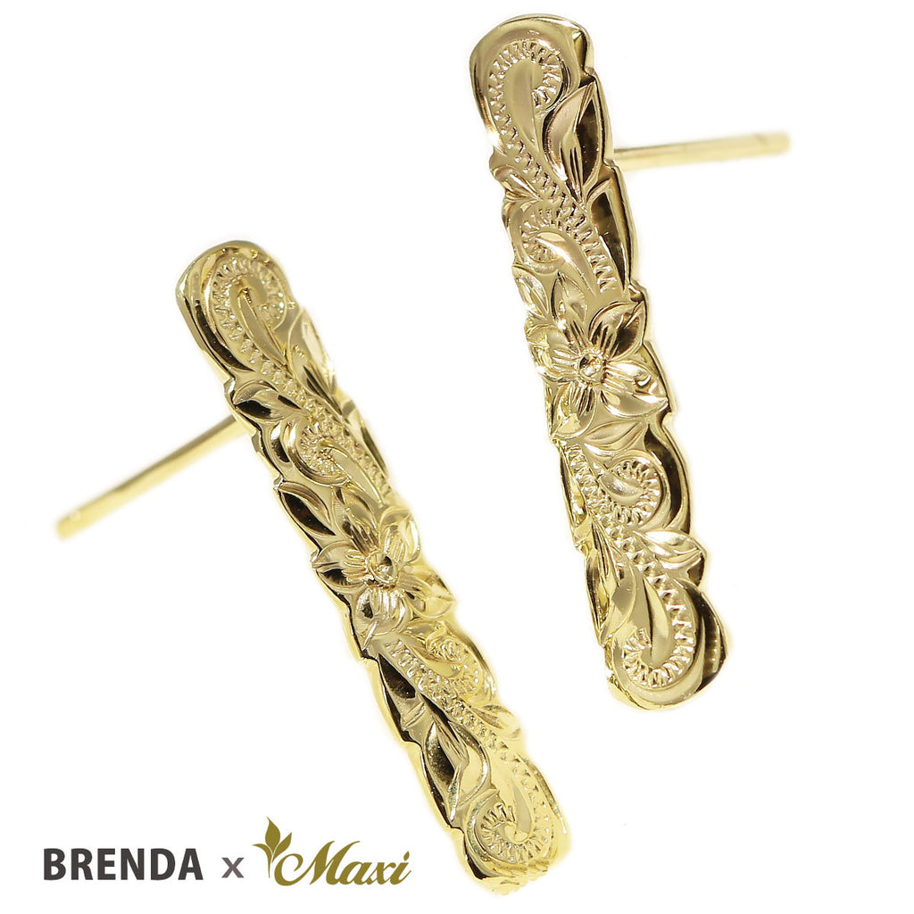 [14K Gold] Brenda x Maxi Scallop Edged Bar Pierced Earring *Made-to-order* (E0237)