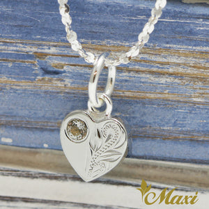 [Silver 925] Heart Pendant with Crystal-Hand Engraved Traditional Hawaiian Design (H0023)