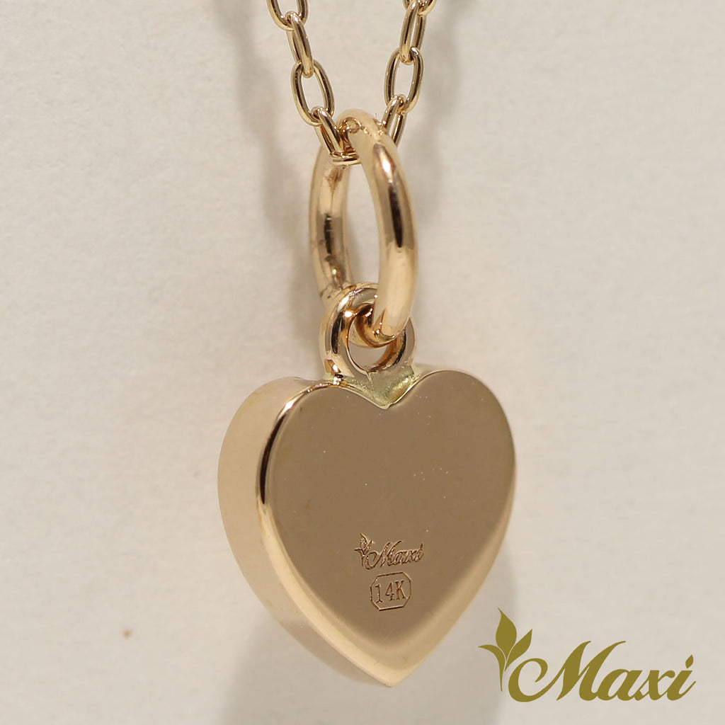 14K Gold Diamond Heart Pendant-Hand Engraved Traditional Hawaiian Design (H0023 Dia)