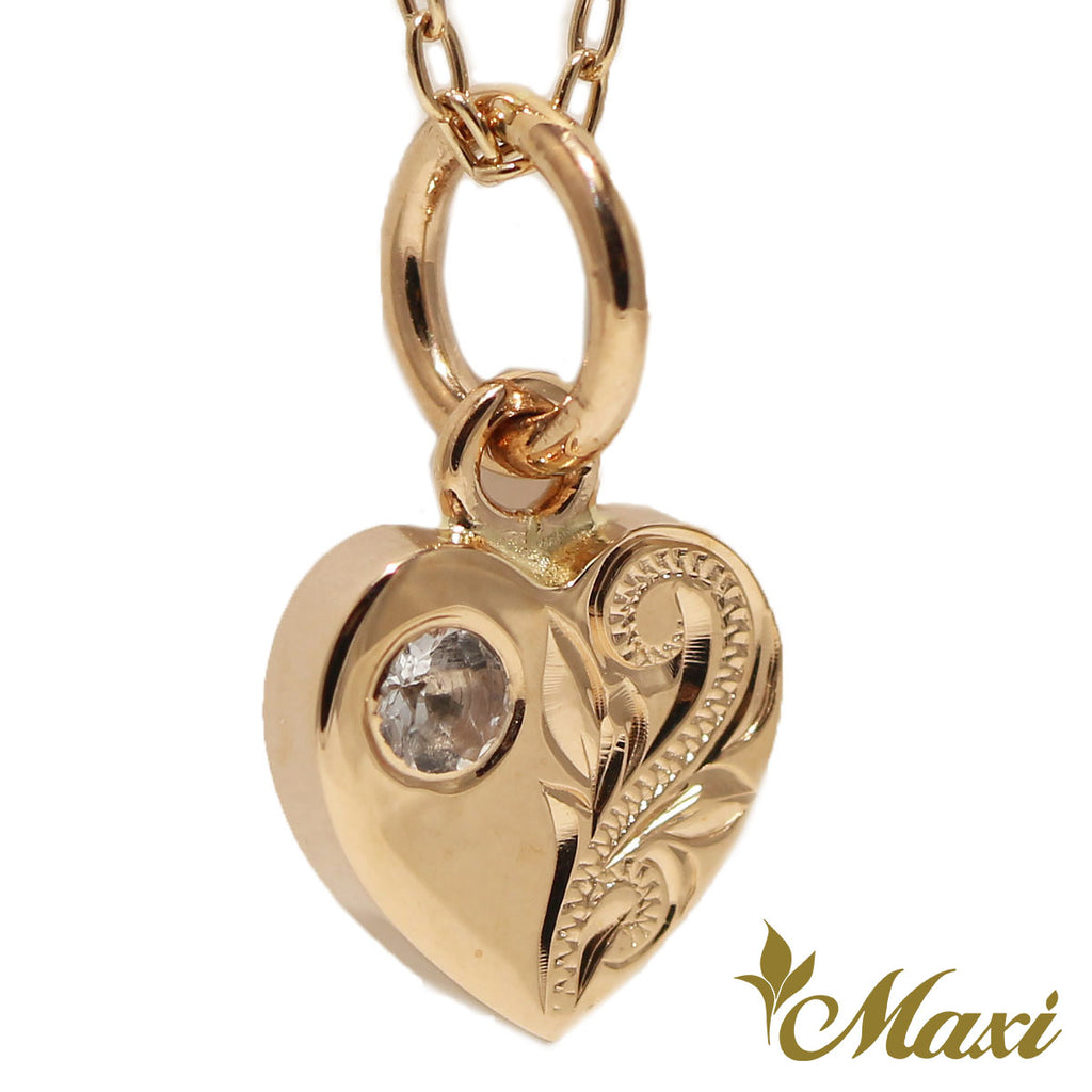 [14K Gold] Heart Pendant with Crystal-Hand Engraved Traditional Hawaiian Design*Made-to-order* (H0023)