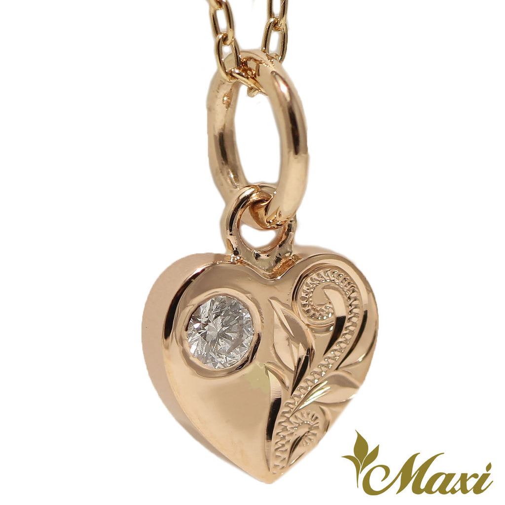 [14K Gold] Diamond Heart Pendant-Hand Engraved Traditional Hawaiian Design*Made-to-order* (H0023 Dia)