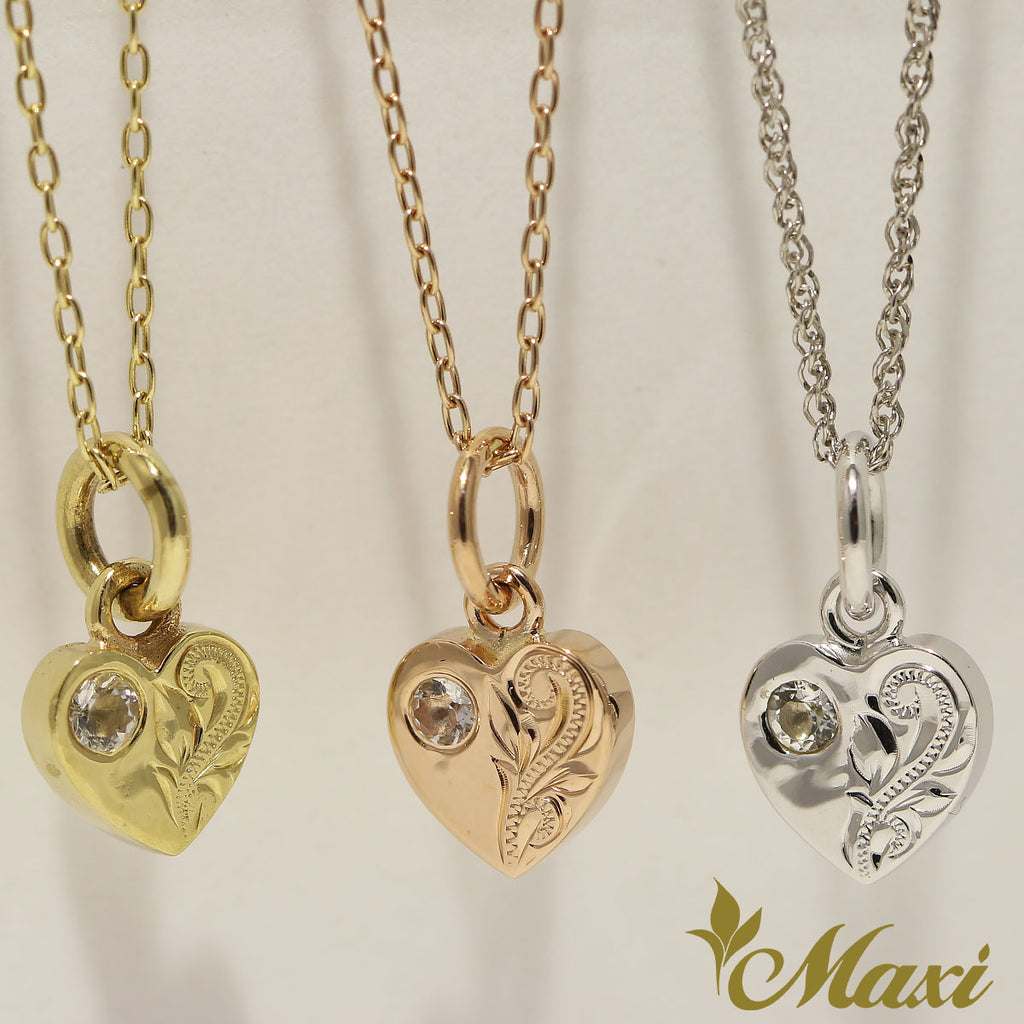 14K Gold Heart Pendant with Crystal-Hand Engraved Traditional Hawaiian Design (H0023)