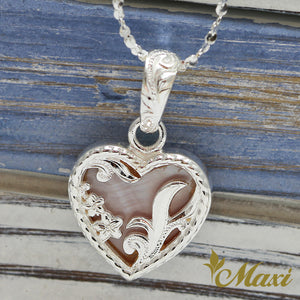 [Silver 925] Mother of Pearl Heart Pendant-Hand Engraved Traditional Hawaiian Design*Made-to-order* (H0096)