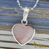 Silver 925 Mother of Pearl Heart Pendant-Hand Engraved Traditional Hawaiian Design (H0096)