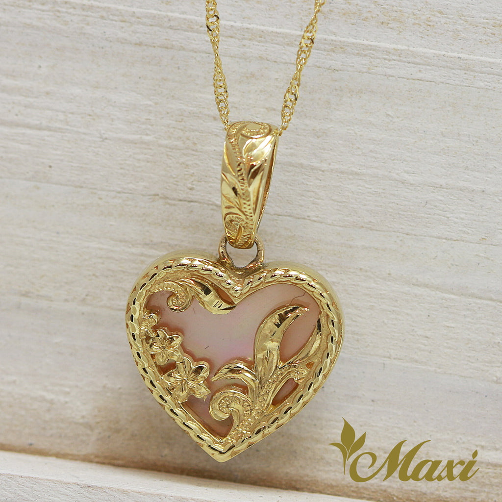 14K Gold Mother of Pearl Heart Pendant-Hand Engraved Traditional Hawaiian Design (H0096)