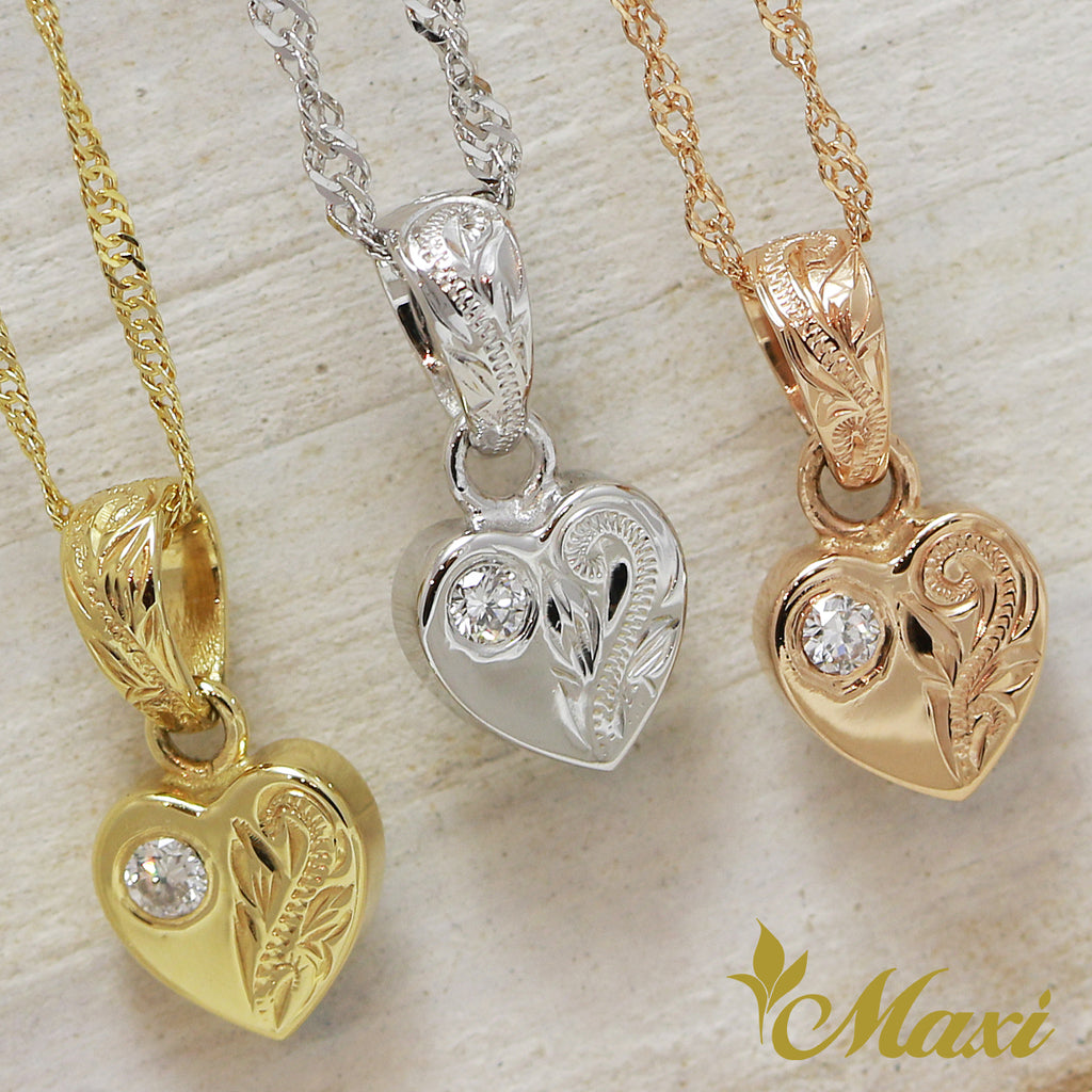 14K Gold Heart Pendant with Diamond-Hand Engraved Traditional Hawaiian Design (H0107)