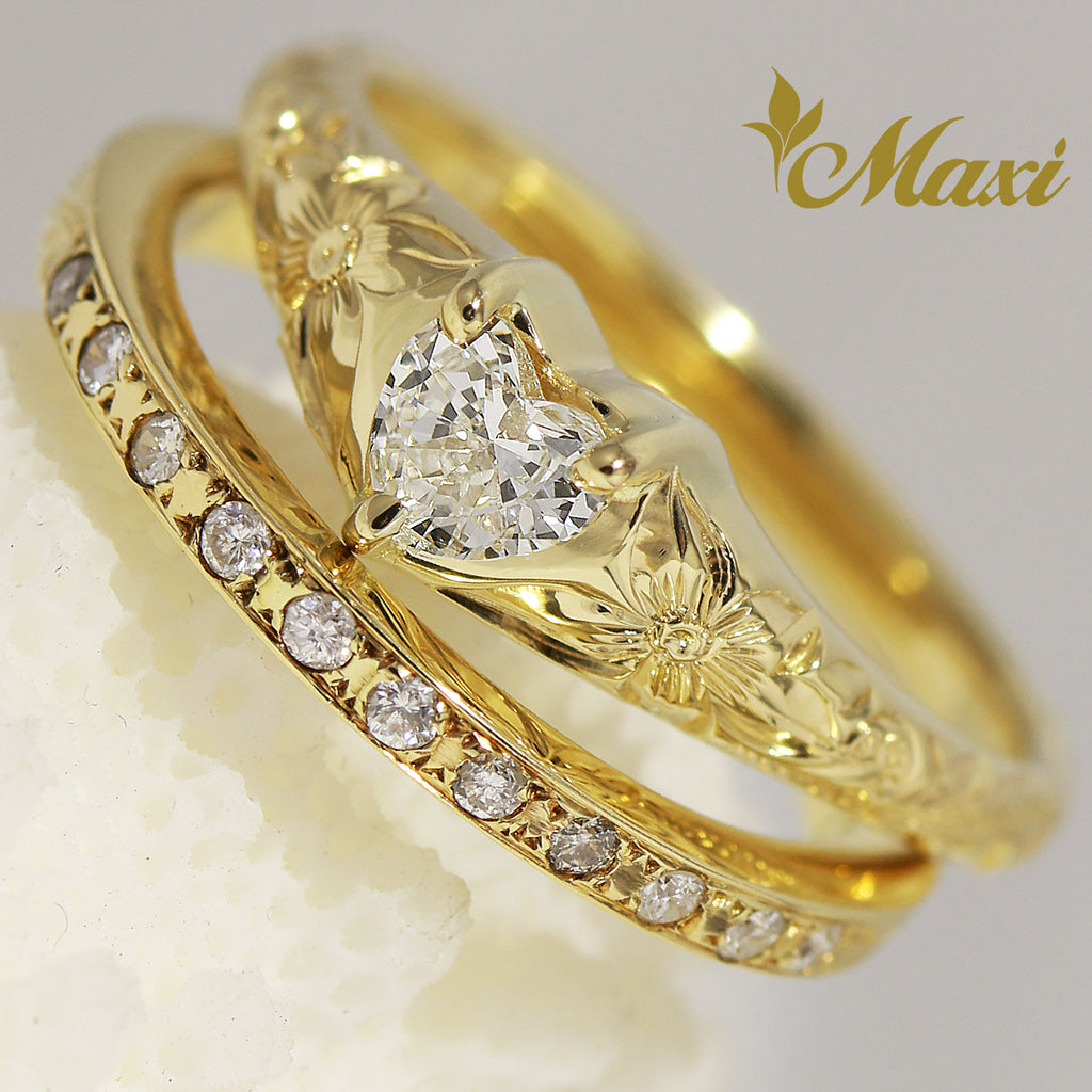 [14K Gold] Heart Shaped Diamond Ring + 1.5mm Diamond Half Eternity Ring (R0835-Heart+Eternity) [Made to Order]