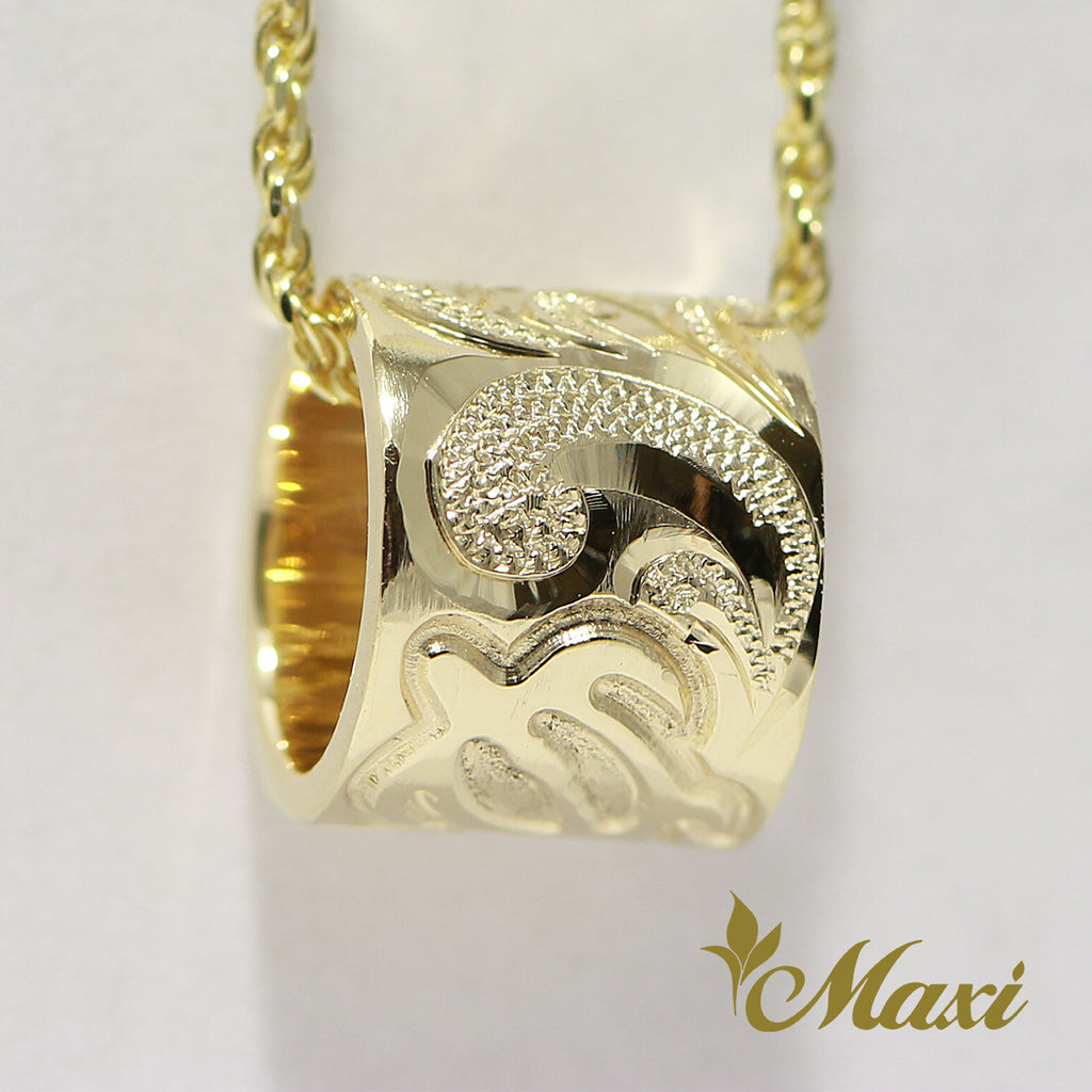 [14K Gold] 8mm Tube Pendant with Honu (TRDSP)