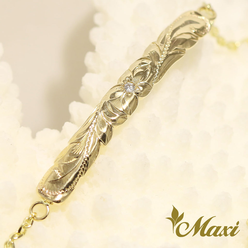 Copy of [14K Gold] 4mm Diamond ID Bracelet -Hand Engraved Traditional Hawaiian Design (TRD)