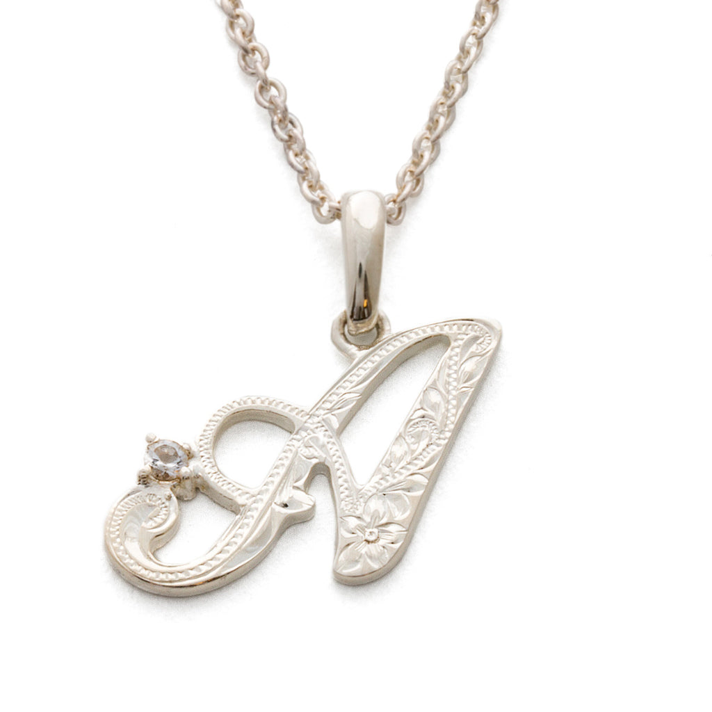 Silver 925 Initial Pendant with Crystal