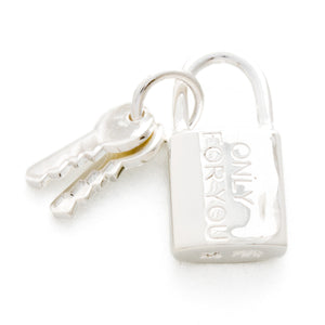"Silver 925 Padlock Pendant ""ONLY FOR YOU"""
