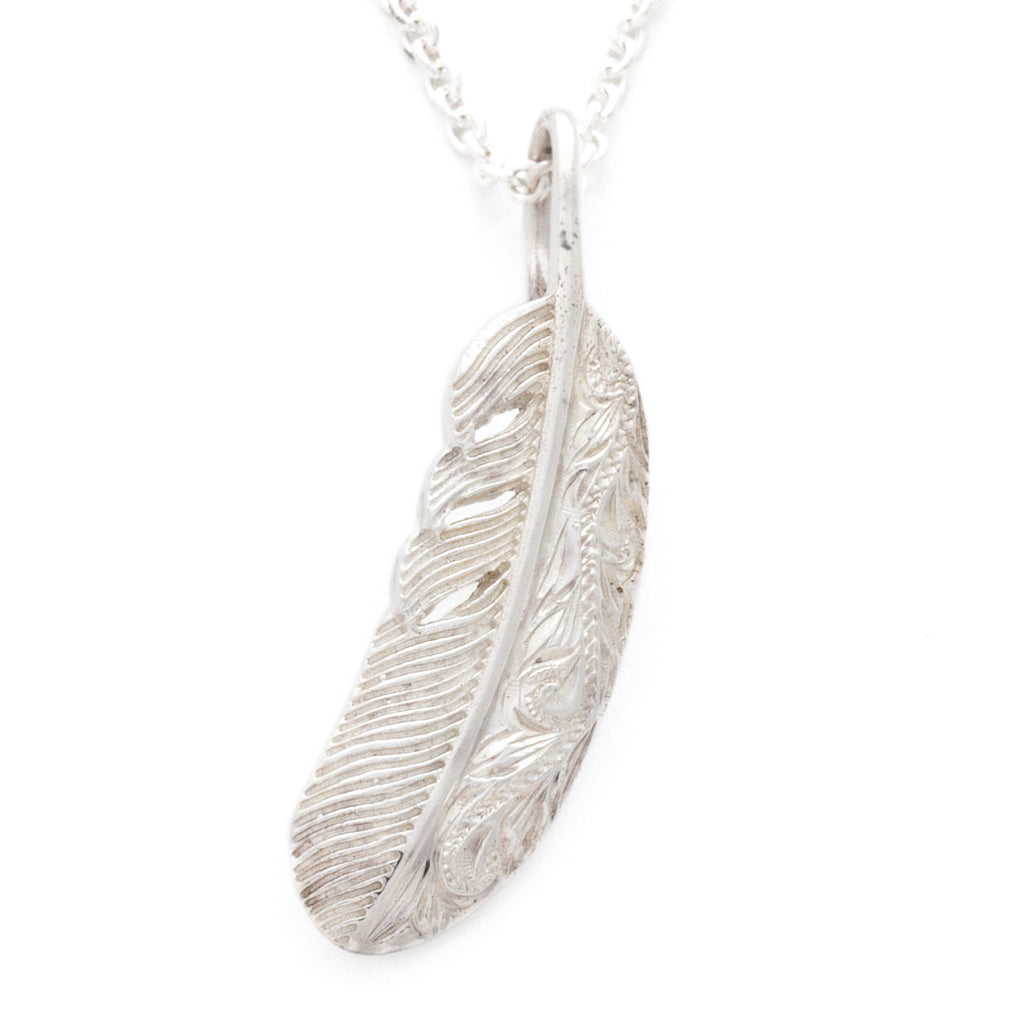 Silver 925 Hawaiian Engraved Feather Pendant