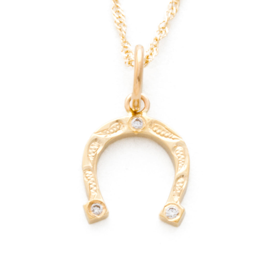14K Yellow Gold Horseshoe Pendant with Diamond