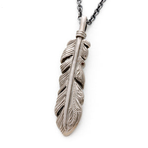 Black Chrome Hawaiian Engraved Feather Pendant
