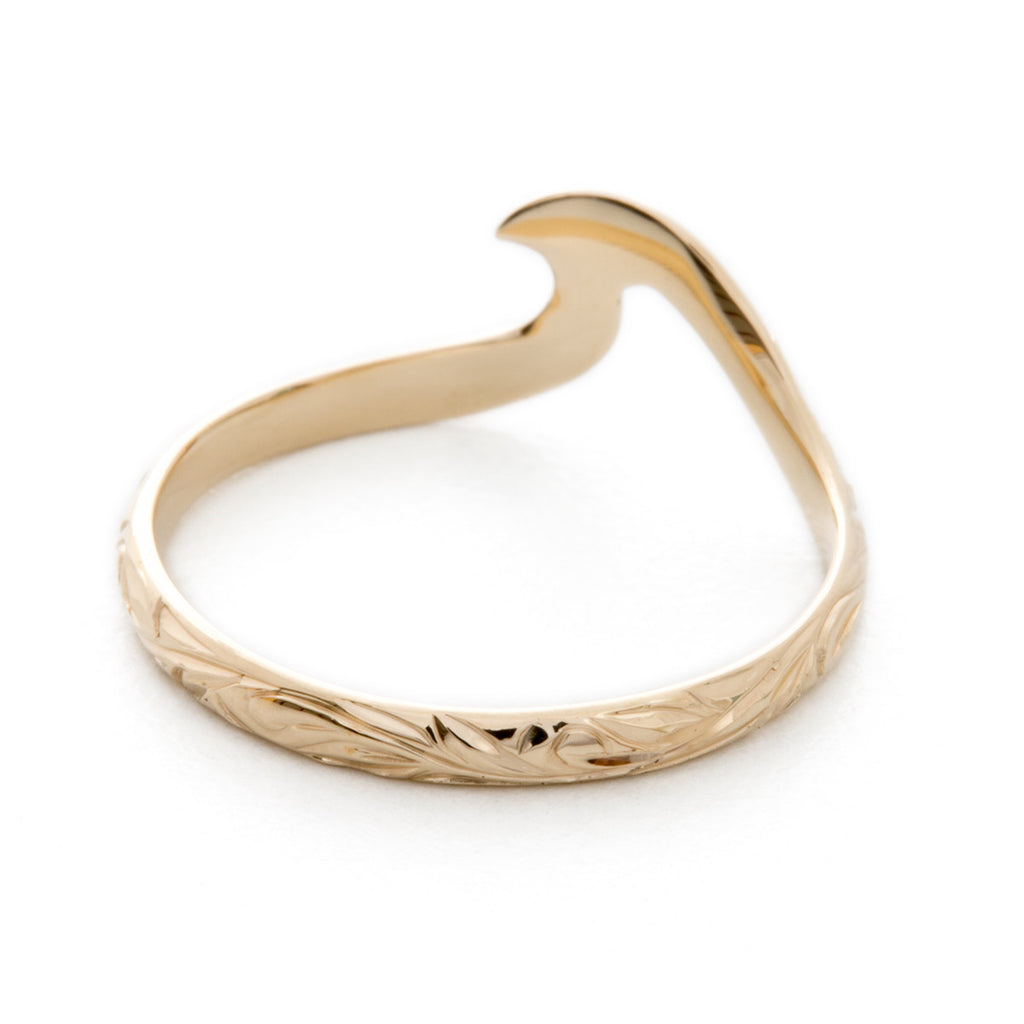 14K Yellow Gold Small Wavy Ring