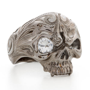 Black Chrome Skull Ring with Stone