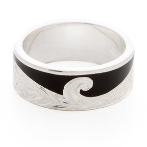 Silver 925 Enamel Wave Ring Small
