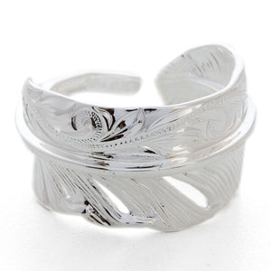 Silver 925 Wide Feather Ring