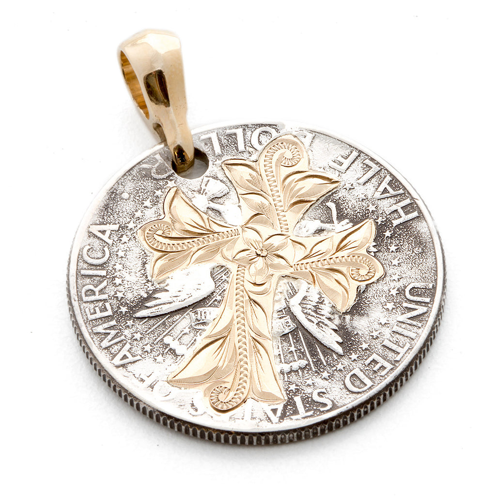 14K Yellow Gold Kennedy Coin Cross Cutout Pendants
