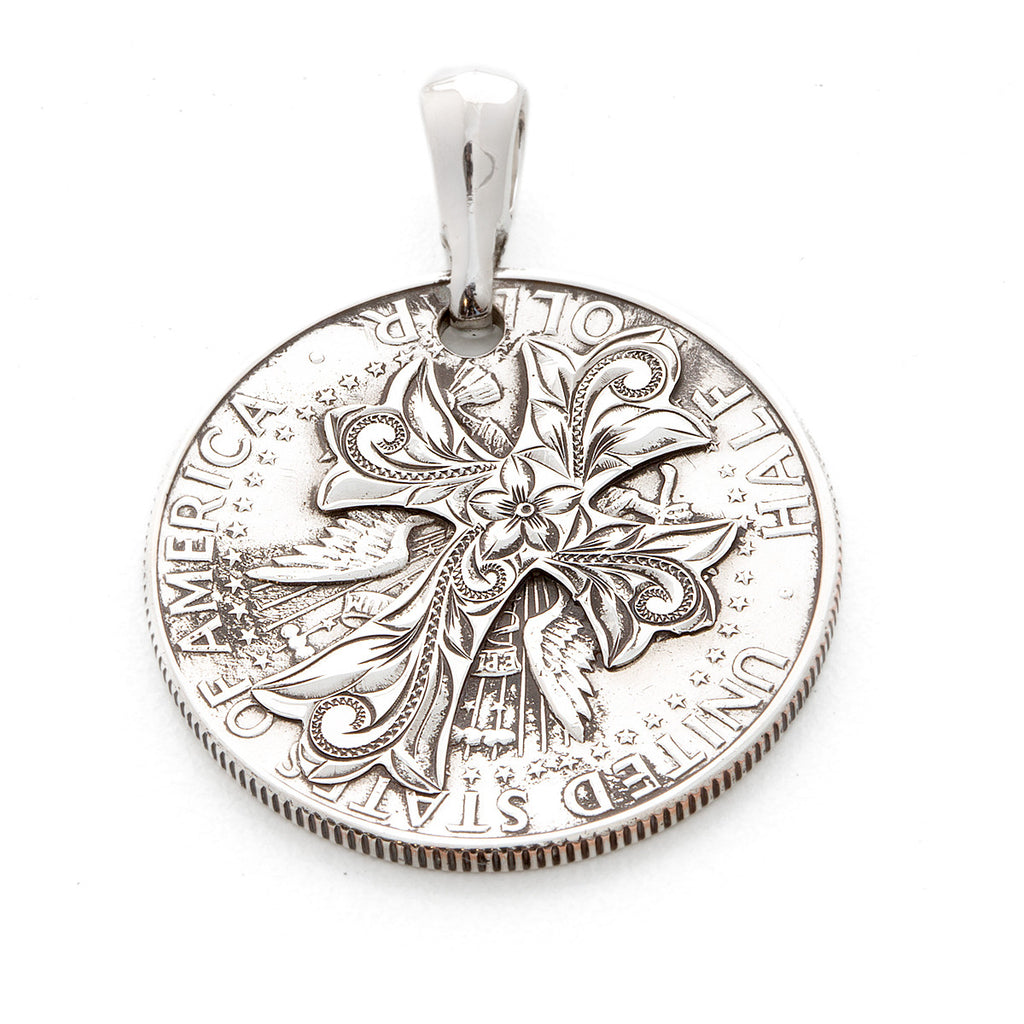 Silver 925 Kennedy Coin Cross Cutout Pendants