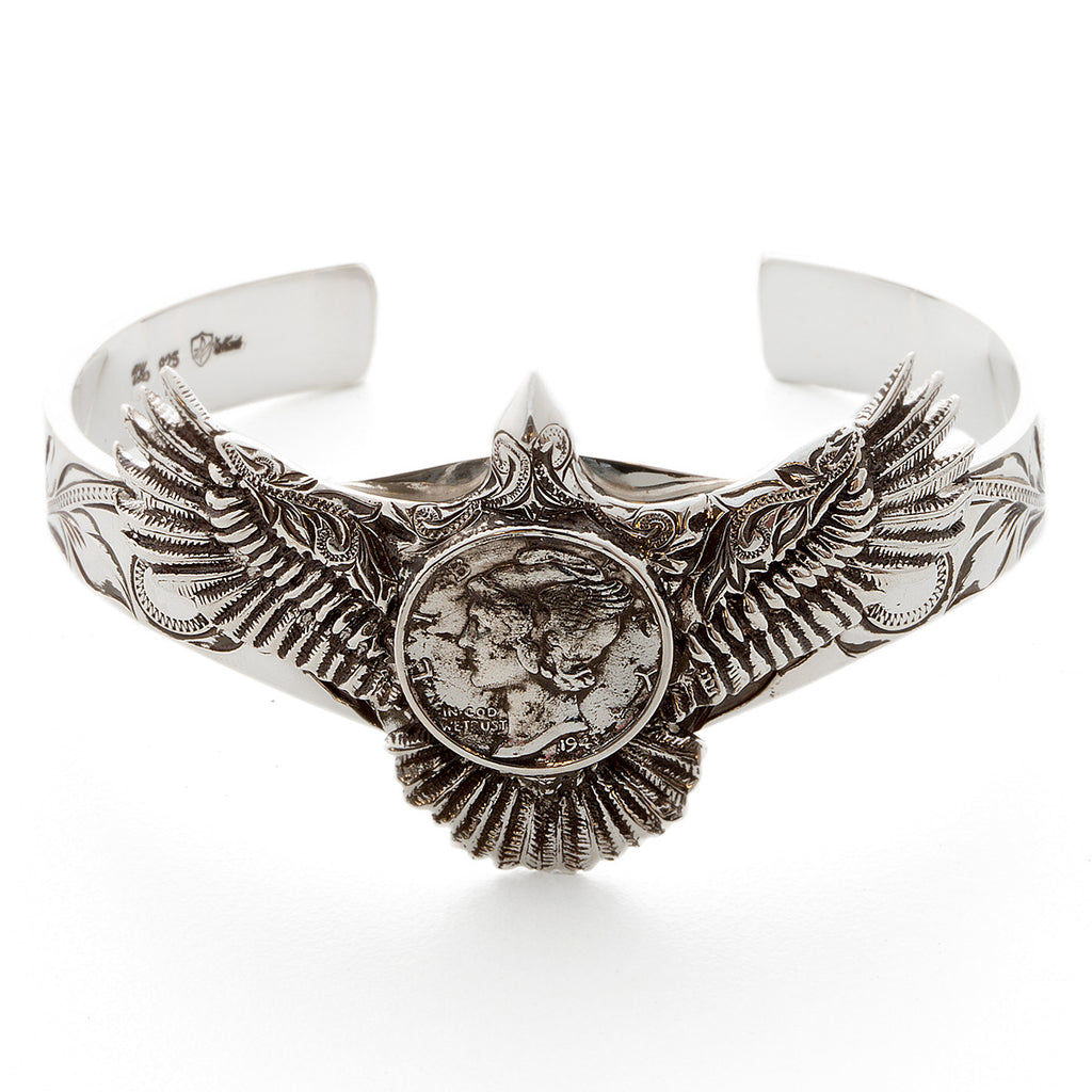 Silver 925 Mercury Dime Eagle Bangle
